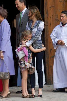 Princess Sofia gave Letizia a hug after Easter Mass in Palma de Mallorca, Spain, in April 2014.