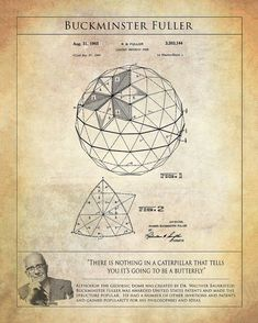 Buckminster Fuller Geodesic Dome Patent Art Print - Patent Art Print of Geodesic Dome - Buckminster Fuller Print - Architektur Sacred Geometry Symbols, Sacred Geometry Tattoo, Math Art, Science Art, Buckminster Fuller, Physics And Mathematics, Mystique, Geodesic Dome, Art Prints