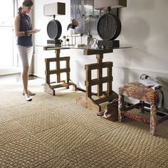 Pet Friendly decorating:  Flor carpet tiles - each tile can be cleaned or replaced as needed.  Love this weave pattern.