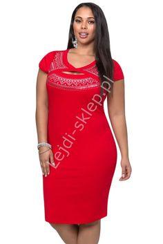 Czerwona sukienka Plus size z imitacja bolerka