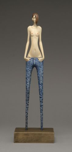 'Skinny Jeans' By John Morris Timber, paint 12cm x 39cm $1850