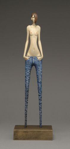 'Skinny Jeans' By John Morris Timber, paint 12cm x 39cm $1850