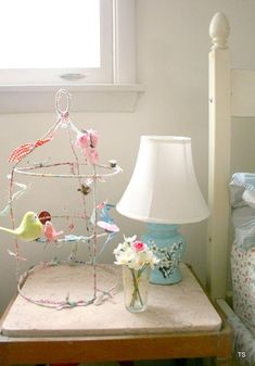 Very cool birdcage-- I am going to try to make one soon! I have tried this before with wire and added fake birds, ribbon, buttons,spools, etc..