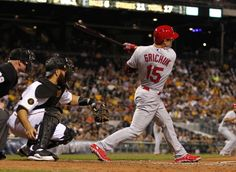 Randal Grichuk hits an RBI single in the seventh inning against the Pirates. Cards lost 5-2. 8-26-14