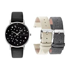 WRISTOLOGY Stella Womens Silver Black Boyfriend Watch Set 3 Straps Grey Tweed Black Beige Leather Bands >>> Be sure to check out this awesome product.Note:It is affiliate link to Amazon.