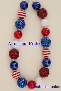 """American Pride"" Chunky Beaded Necklace for women, girls, kids"