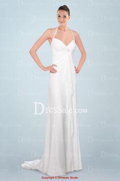 Tempting Halter V-neckline Wedding Dress Featuring Pleats and Ruffles Detail