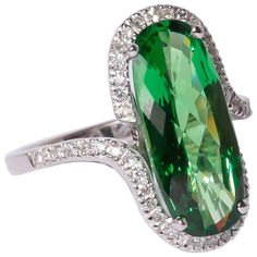 Tsavorite Diamond Gold Ring | From a unique collection of vintage fashion rings at https://www.1stdibs.com/jewelry/rings/fashion-rings/