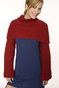 Crocheted Candy Apple Shrug (Crochet) - Lion Brand Yarn
