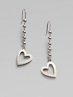 Gucci - Sterling Silver Heart Drop Earrings - Saks.com