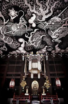 Twin dragons, Kennin-ji Zen-temple, Kyoto, Japan