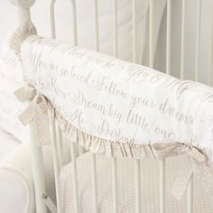 Caden Lane | Love Letters Baby Bedding | Letters in Taupe Crib Rail Cover