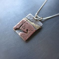 Reversible Mixed Metal River Forest Pendant (side 1) by Beth Millner, via Flickr