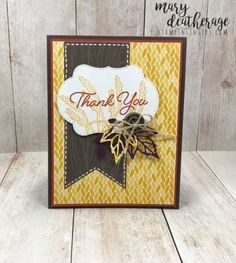 Stampin' Up! Blended Seasons Country Lane for the Happy Inkin' Thursday Blog Hop | Stamps – n - Lingers Hand Stamped Cards, Thanksgiving Cards, Fall Cards, Card Maker, Homemade Cards, Stampin Up Cards, Thank You Cards, Cardmaking, Your Cards