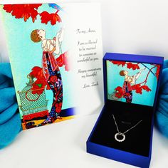 """Art and Literary Birthday Anniversary Gift - Silver Necklace with Zircon + Personalized Birthday Card + Barbier """"L'oiseau volage"""" Birthday Gifts For Her, Birthday Cards, Presents For Her, Star Art, Message Card, French Artists, I Am Happy, Me As A Girlfriend, Anniversary Gifts"""