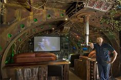Steampunk home theater and emergency Jules Verne submarine...because you never know when you need both.