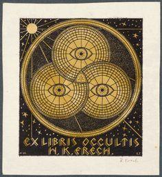 Large occultist bookplate by Slovak artist Prof. KARL FRECH (Bratislava) c.1920