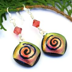 Spiral Dichroic Glass Handmade Earrings Peach Yellow Swarovski Jewelry | @shadowdog - Jewelry on ArtFire