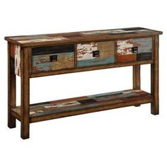 Three-drawer console table with a bottom display shelf and distressed multicolor patchwork motif.  Product: Console tableConstruction Material: Reclaimed woodColor: Teal, brown and greyFeatures:  Three drawersOne lower shelf Dimensions: 34 H x 64 W x 16 D