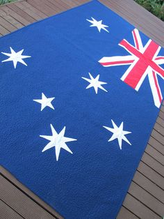 They Australian flag is very interesting, if only i knew its background and on so. Flag Quilt, Quilt Blocks, Australian Flags, Textile Company, Entertainment Room, Quilt Making, Design Elements, Textiles, Kids Rugs