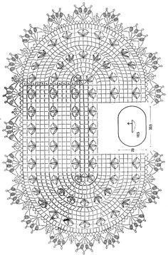 Crochet Art: Crochet Lace Doily - Beautiful Oval Doily ❤️LCD-MRS❤️ with diagram Crochet Doily Diagram, Crochet Lace Edging, Crochet Doily Patterns, Crochet Mandala, Crochet Art, Crochet Home, Filet Crochet, Thread Crochet, Crochet Designs