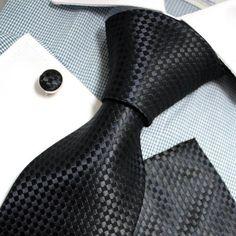 Black Checkered Woven Silk Tie Handkerchiefs Cufflinks Present Box Set Black cufflink Formal Attire For Men, Mens Attire, Mens Suits, Formal Wear, Sharp Dressed Man, Well Dressed Men, Cool Ties, Suit And Tie, Classic Man