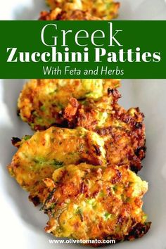 unbelievable delicious traditional Greek zucchini patties are made with plenty of herbs and feta and are so easy to make!These unbelievable delicious traditional Greek zucchini patties are made with plenty of herbs and feta and are so easy to make! Easy Mediterranean Diet Recipes, Mediterranean Dishes, Mediterranean Appetizers, Mediterranean Diet Breakfast, Greek Appetizers, Vegetarian Appetizers, Clean Eating Snacks, Healthy Eating, Zucchini Patties