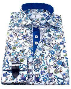 Men's luxury French cuff shirts - Rio Blue | UrUNIQUE.com Mens Printed Shirts, Men's Shirts, Sports Shirts, Cool Shirts, Mens Fashion Online, Men's Fashion, Fitted Dress Shirts, Shirt Dress, French Cuff Shirts