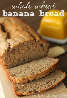 Whole Wheat Low Fat Banana Bread from TheHowToCrew.com.  No butter or oil and whole wheat flour make this banana bread healthy and SO DELICIOUS! #recipes #banana #healthy