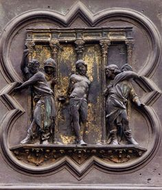 Lorenzo Ghiberti - Flagellation, one of the panels on the North Doors of The Florence Baptistery - the door depicted scenes from the New Testament Lorenzo Ghiberti, Renaissance Artists, Renaissance Era, Renaissance Architecture, Art And Architecture, Florence Baptistery, Flagellation, St Jerome, Book Design Inspiration