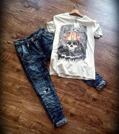Jeans slim destroyed con catena - KLIXS JEANS made in italy T-shirt - BERNA