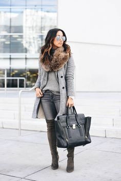 3.1 Phillip Lim satchel, grey coat, OTK boots and faux fur scarf