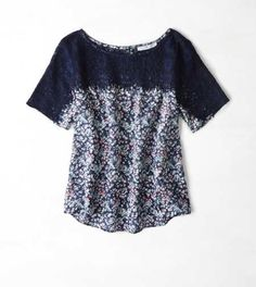 American Eagle Outfitters Print Paneled T-Shirt