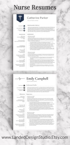 Nurse resume templates - could be used for any medical profession! Love the Caduceus and the stylized QRS wave!