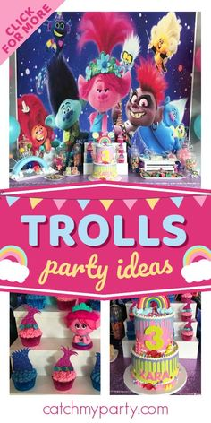 Check out this fun and colorful Trolls birthday party! The cupcakes are so fantastic!! See more party ideas and share yours at CatchMyParty.com Trolls Birthday Party, Girls Birthday Party Themes, Birthday Drinks, Troll Party, Party Drinks, Girl Birthday, Party Favors, Birthday Parties, Rainbow Parties