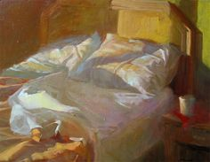 """""""UNMADE BED, EARLY HOURS"""", OIL ON PANEL 16"""" X 20"""", BY SALLY STRAND. SALLYSTRAND.COM"""