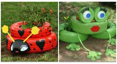 Recycled tyre planter ideas