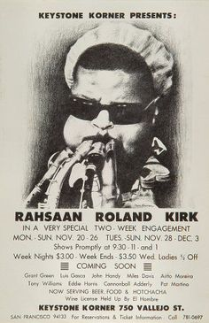 Rahsaan Roland Kirk Poster from Both And on 24 Feb 67