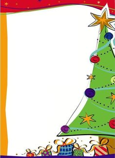 Christmas Stationery/Large Recipe Card - Tree along one side.