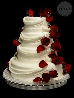 Love Wedding Cakes Ivory or white layered tiered wedding cake with red roses and drapery – Cake by Freeds Bakery Las Vegas Hydrangea Hill Cottage: Ribbons, Roses, Ruffles and Lace.no flowers but the draping is beautiful Red and white cake: colors are ve Beautiful Wedding Cakes, Gorgeous Cakes, Pretty Cakes, Amazing Cakes, Wedding Cakes With Roses, Red Wedding Cakes, Fondant Cakes, Cupcake Cakes, Wedding Cake Cookies