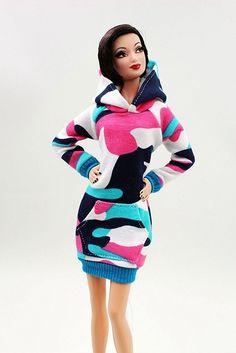 Cora Gu Hot Pink Sweater Dress/ Hoodie Dress/ Casual Wear For Barbie Doll/Silkstone/ FR/ Curvy Barbie/ Lammily Dolls Girl's 'Present/Barbie Dress Clothes
