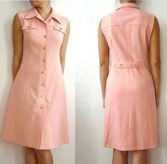 Items similar to DINA French Vintage Shirt Dress on Etsy Linen Dresses, Casual Dresses, Casual Outfits, 70s Fashion, Womens Fashion, Big Size Dress, Dress Skirt, Shirt Dress, Rocker Style