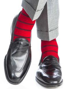 Red with Black Stripe Socks Linked Toe OTC
