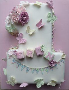 Vintage style number 1 cake