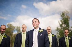 groomsmen - green & green, groom - white & white? Yes, but I get a green vest or tie... the end.