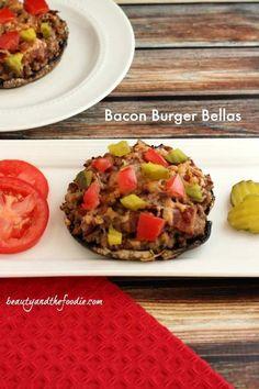Bacon Burger Stuffed Portabellos  aka Bacon Burger Bellas  #beautyandthefoodie