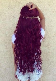 This hair color. Maroon. Curls. More