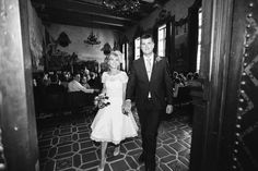 Santa Barbara courthouse (mural room), bride and groom during recessional