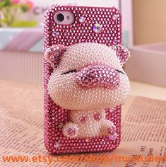cute Handmade Beige Pig Bling crystal For iPhone 5 hard Case Cover skin Bling Phone Cases, Cute Phone Cases, Diy Phone Case, 5s Cases, Iphone Cases, Iphone 4s, Smartphone, Accessoires Iphone, Cute Pigs
