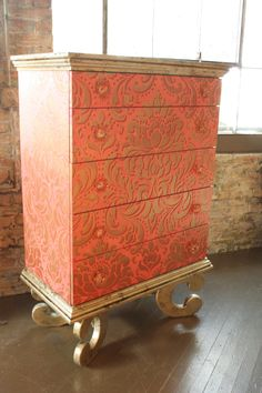 Whimsical painted and stenciled dresser designed by Linda Gale of Southern Inspirations | Royal Design Studio Stencil and Modern Masters Metallic Paint